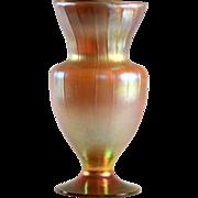 Tiffany Favrile Gold Iridescent Ribbed Vase