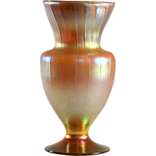 Tiffany Favrile Gold Iridescent Ribbed Vase