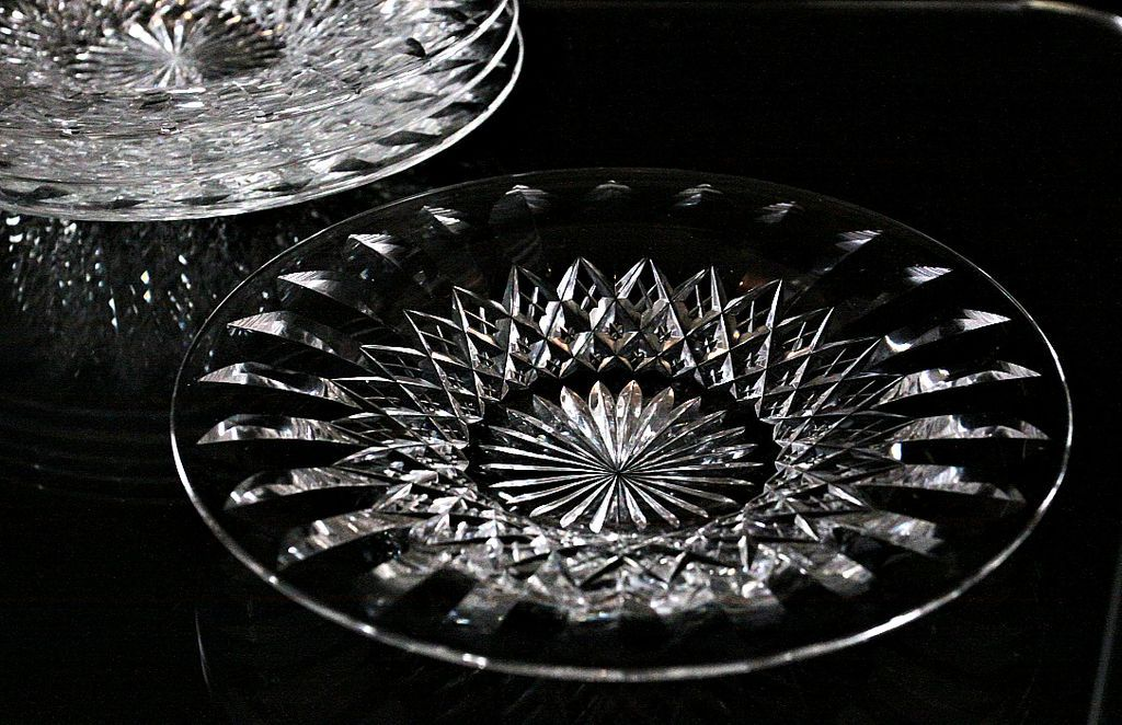 """Webb Corbett """"Cardinal"""" Pattern Crystal Desert Plates"""