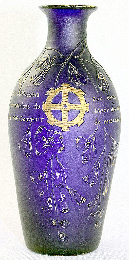 Burgun & Schverer Cobalt Blue Cameo Vase Parlant