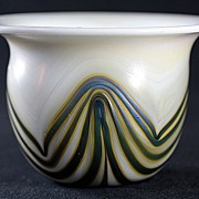 Charles Lotton Iridescent Pulled Pattern Vase