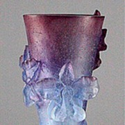 Daum Orchid Pattern Pate de Verre Bud Vase
