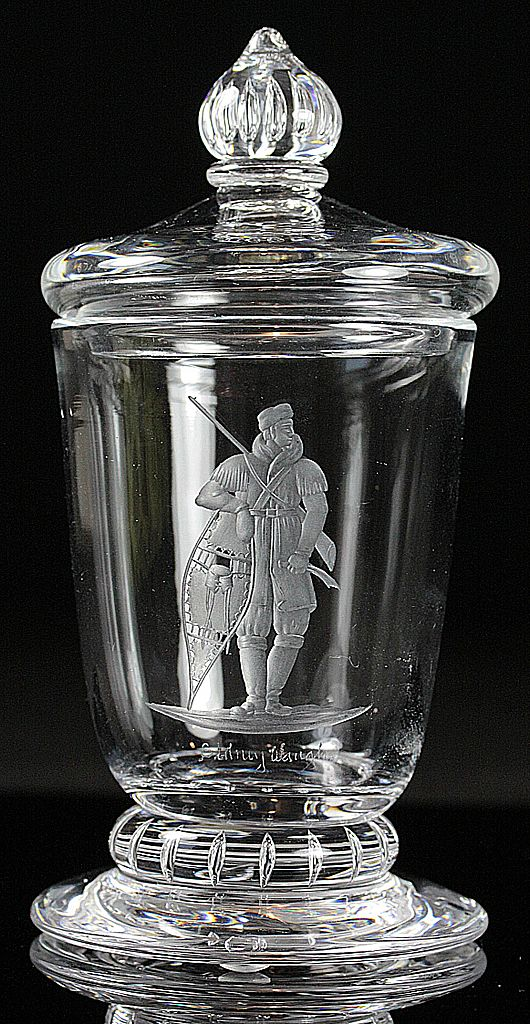 "Steuben ""The Trapper"" Engraved Vase by Sidney Waugh"