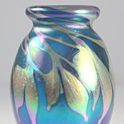 Iridescent Blue Pulled Pattern Vase by Charles Lotton