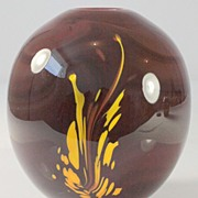 Burgundy Vase with Yellow Splash Pattern by Dominick Labino