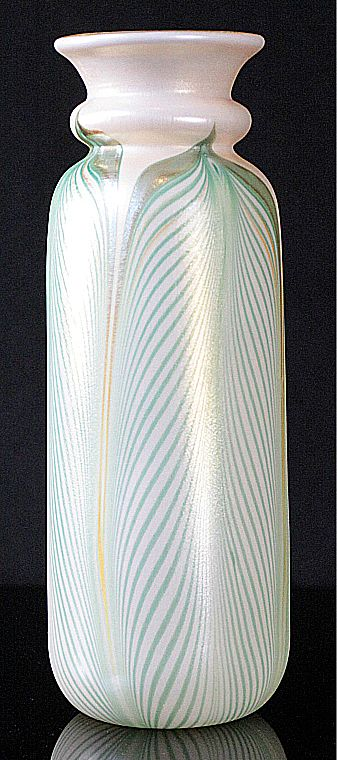 Kew Blas Pulled Feather Pattern Vase by Union Glass