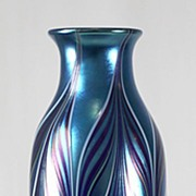 Orient & Flume Blue Iridescent Pulled Pattern Vase