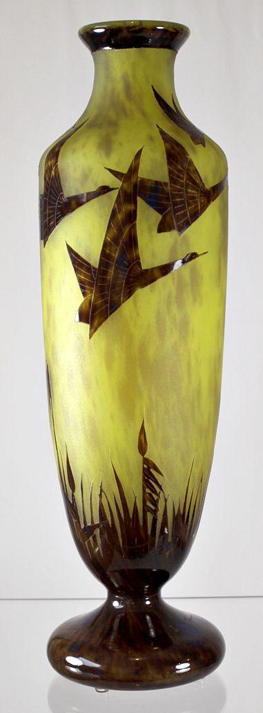 """Le Verre Francais """"Halbrans""""  Pattern Cameo Vase by Schneider"""