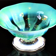 Tiffany Favrile Green Opalescent Pastel Bowl