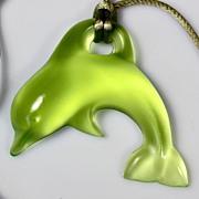 Daum Green Pate de Verre Dolphin Pendant