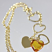 "Lalique Amber  ""Coeur Love"" Necklace"