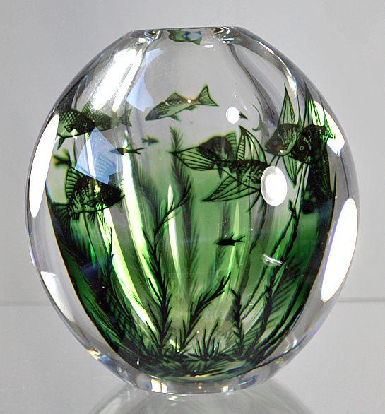 Orrefors Fish Graal Vase by Edward Hald