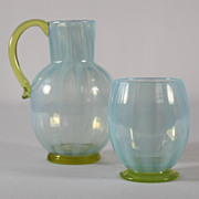 Tiffany Blue Opalescent Pitcher and Tumbler