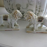REDUCED Pair Victorian Pearlware Lions from Edinburgh, Scotland