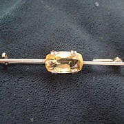 Pretty English Vintage Silver Bar Pin with Citrine - C Clasp