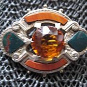 SALE:  Victorian Scottish Silver Brooch w/Red Jasper & Bloodstone