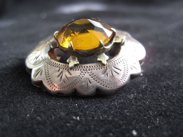 Scottish Victorian Engraved Silver Pin with Faceted Citrine