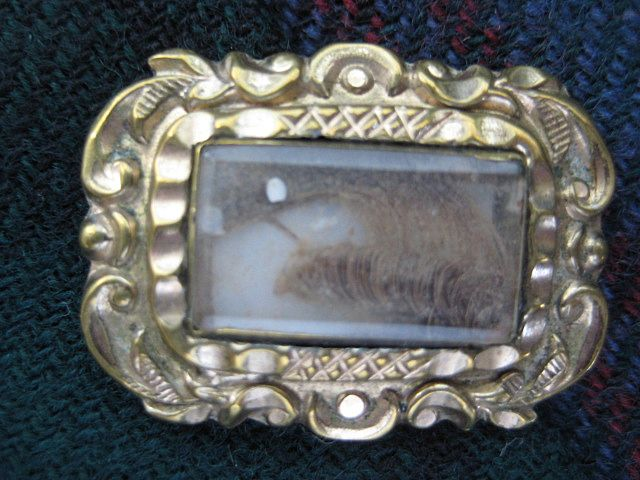 Georgian Mourning Pin with a Lock of Hair