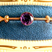 Beautiful English 9ct Gold Victorian Pin w/faceted Amethyst