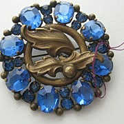REDUCED: Fabulous Large Vintage Blue Rhinestone Brooch
