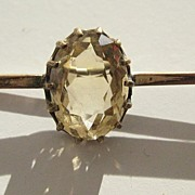 Vintage Rolled Gold Bar Pin with Faceted Citrine