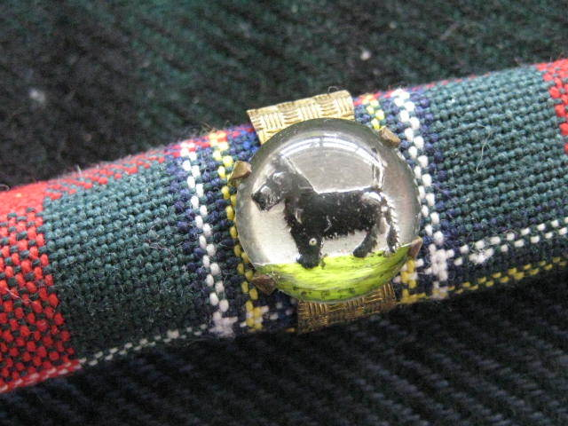 Old Scarf Pin with Scottie Set in Crystal