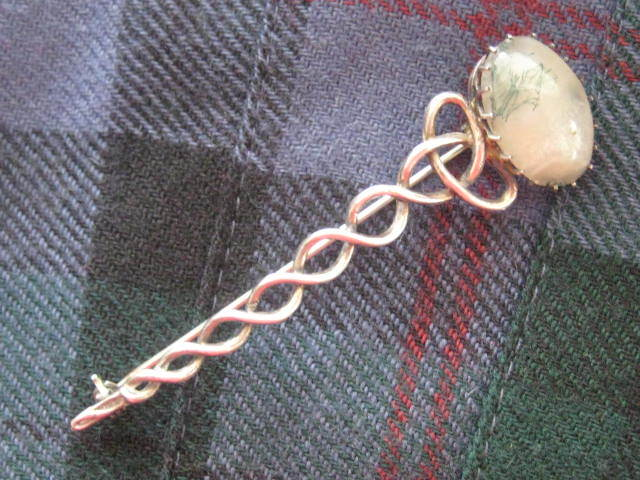Vintage Scottish Silver Kilt Pin with Moss Agate Stone