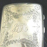 REDUCED English Hallmarked Silver Cigarette Case, B'ham 1908 Initials JHM