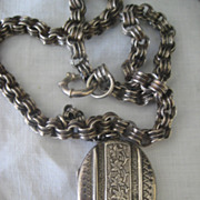 Victorian Thick Silver Chain with Large Antique Locket