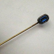 Antique Gold Fill Stickpin with a Rich Blue Stone