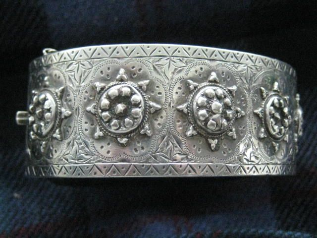 SALE:  C1882 Fabulous English Silver Cuff Bangle - Birmingham