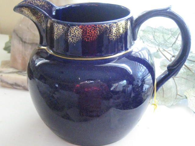 Large Vintage Cobalt Blue English Jug w/Gold Trim
