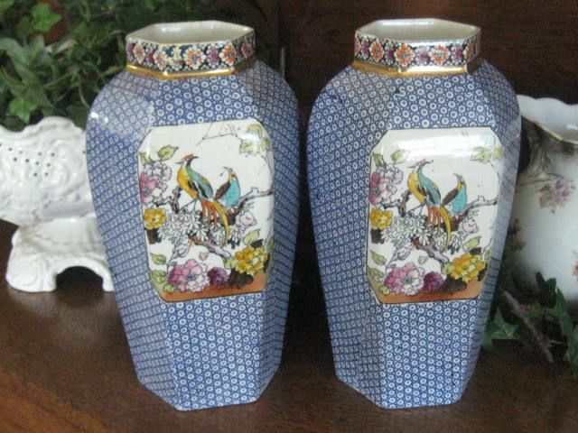 SALE: Pr Large Antique Blue Transferware English Vases w/Exotic Birds