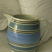 Large MOCHA WARE Antique Blue/White Pitcher - 7  1/2 ins tall.