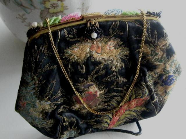 PRICE REDUCTION: Antique Black Heavily Embroidered Purse - Japanese Influence
