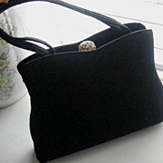 Beautiful Black H.L. USA Vintage Purse w/Rhinestone Top