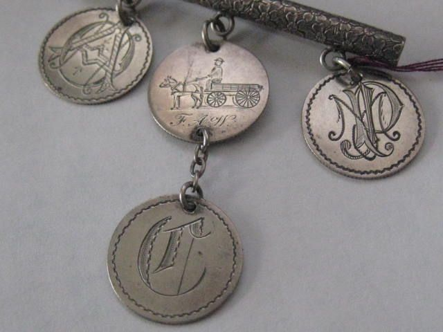 Vict Silver Love Tokens on Engraved Bar Pin