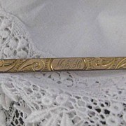Early 1900s Gold Front Bar Pin w/Scrolled Engraving & Initials M.E.H.