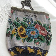 REDUCED: Antique German Beaded Purse in Perfect Condition ANDENKEN/ZUM