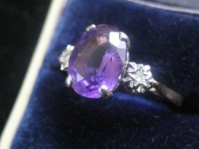 Vintage Delicate 9ct Gold Amethyst and Diamond Ring, Size 6.75