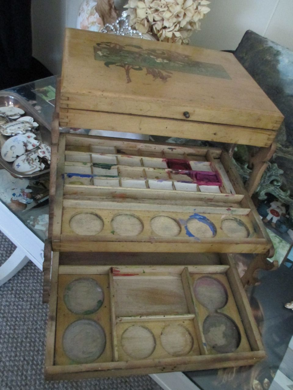 REDUCED: Victorian Child's Painting Craft Box