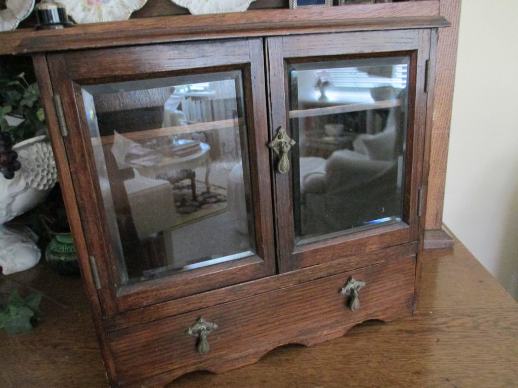 REDUCED: Antique Mahogany Smoker Chest with Beveled Glass Doors & REDUCED: Antique Mahogany Smoker Chest with Beveled Glass Doors ... Pezcame.Com