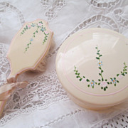 Vintage Celluloid Baby's Hairbrush and Power Bowl