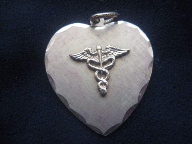 Vintage Medical Symbol Heart-Shaped Charm Pendant