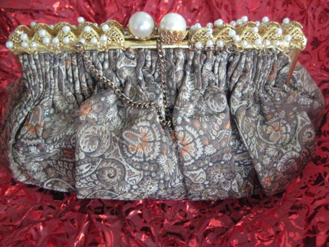 Beautiful Vintage Fabric Purse with Pearls on Gilt Frame
