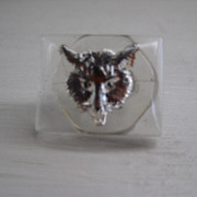 Vintage Fox Head Collectible Button, Reverse Painted