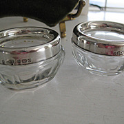 PAIR English Crystal/Hallmarked Silver Salts c1927