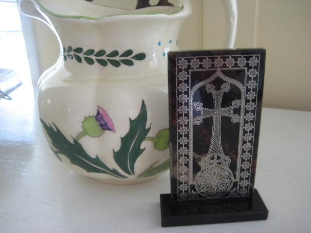 Agate Standing Cross w/Silver Inlay