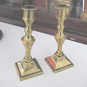 Pair Antique English Miniature Brass Candlesticks