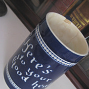 "Very Old English Cobalt Blue Ceramic Mug ""Here's to your good health"""